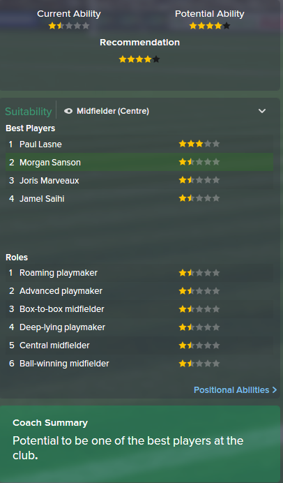 Morgan Sanson, FM15, FM 2015, Football Manager 2015, Scout Report, Current & Potential Ability