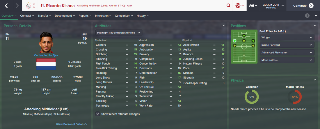 Ricardo Kishna, FM15, FM 2015, Football Manager 2015, 1st Season Screenshot