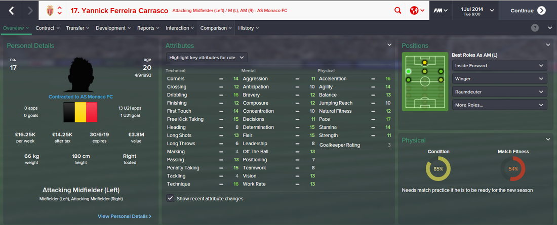 Yannick Ferreira Carrasco, FM15, FM 2015, Football Manager 2015, 1st Season Screenshot