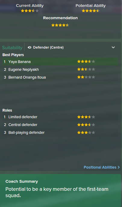 Yaya Banana. FM15, FM 2015, Football Manager 2015, Scout Report, Current & Potential Ability