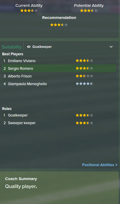 Sergio Romero, FM15, FM 2015, Football Manager 2015, Scout Report, Current & Potential Ability