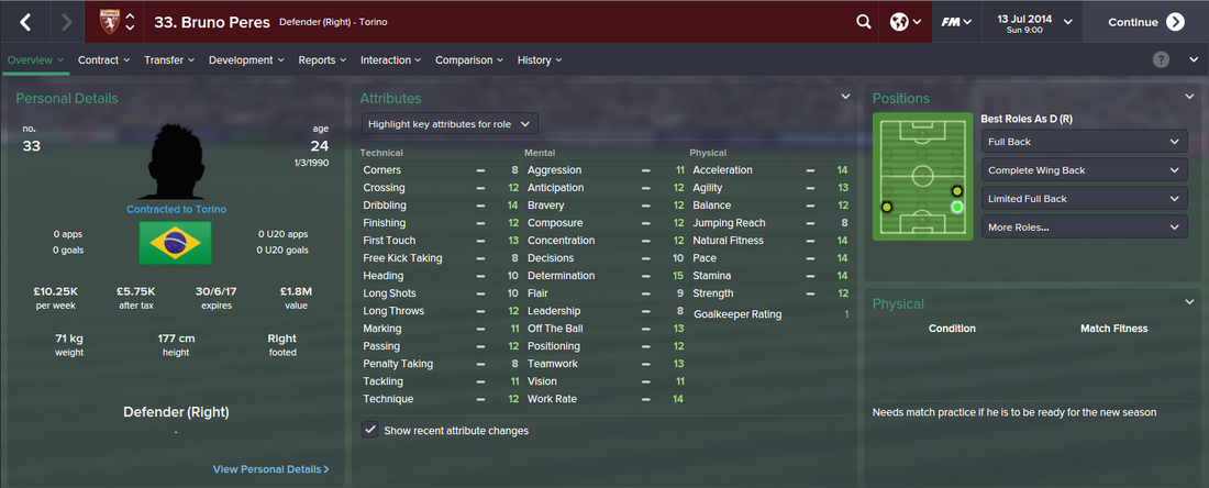 Bruno Peres, FM15, FM 2015, Football Manager 2015, 1st Season Screenshot
