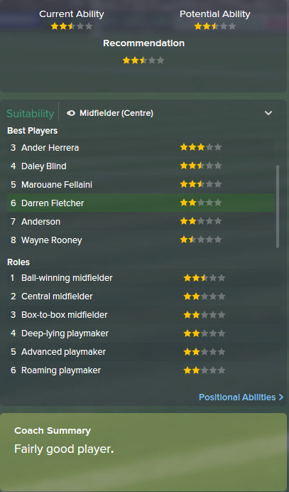 Darren Fletcher, FM15, FM 2015, Football Manager 2015, Scout Report, Current & Potential Ability