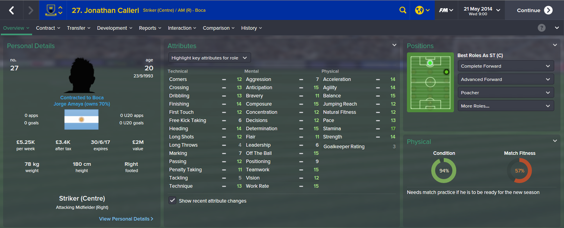 Jonathan Calleri, FM15, FM 2015, Football Manager 2015, 1st Season Screenshot