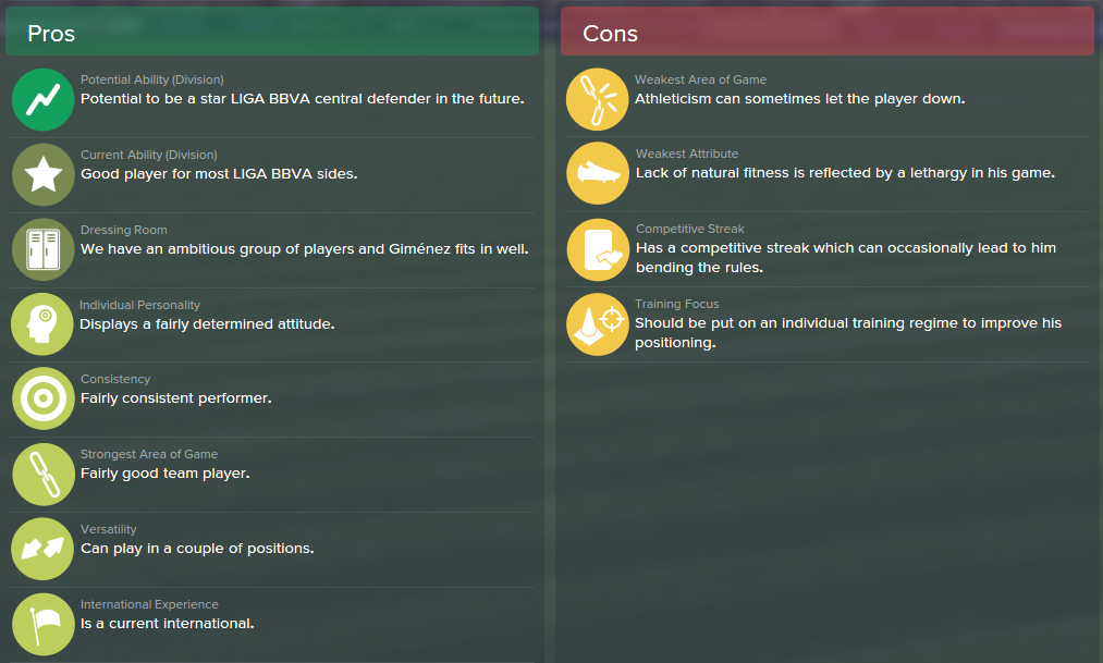 Jose Maria Gimenez, FM15, FM 2015, Football Manager 2015, Scout Report, Pros & Cons