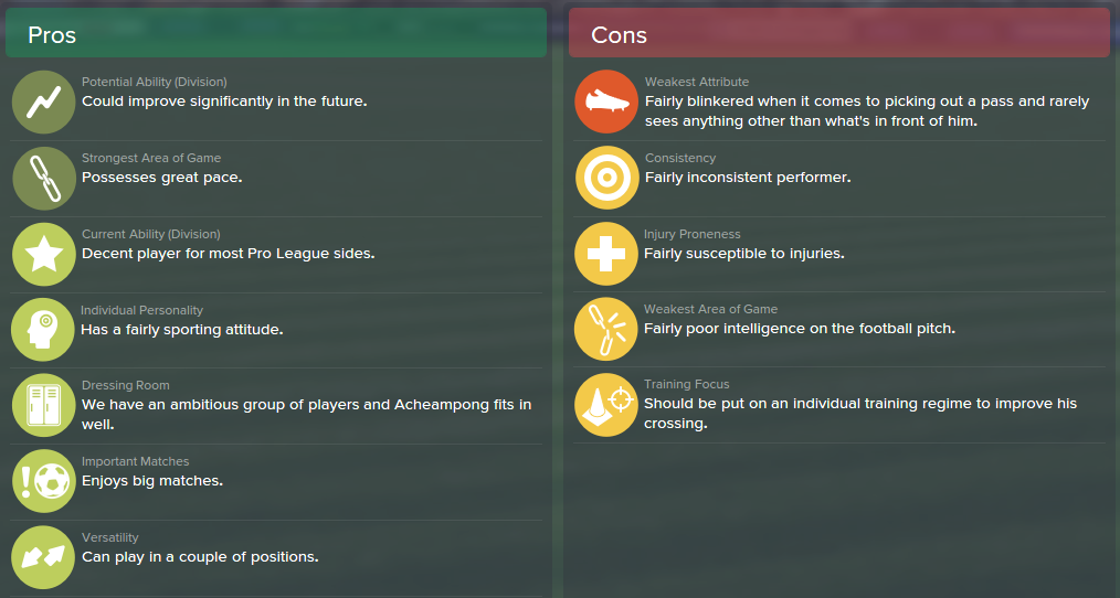 Frank Acheampong, FM15, FM 2015, Football Manager 2015, Scout Report, Pros & Cons