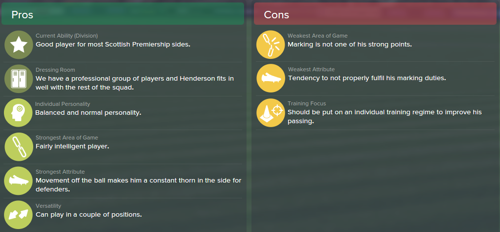 Liam Henderson, FM15, FM 2015, Football Manager 2015, Scout Report, Pros & Cons