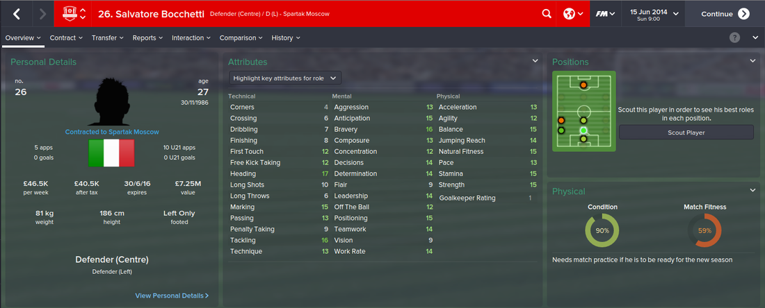 Salvatore Bocchetti, Football Manager 2015, FM15, FM 2015, 1st Season Screenshot