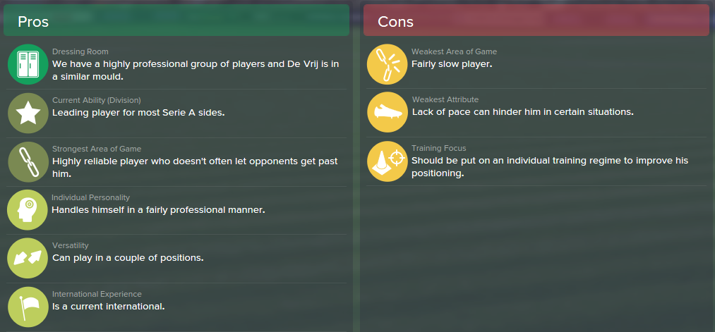Stefan de Vrij, FM15, FM 2015, Football Manager 2015, Scout Report, Pros & Cons