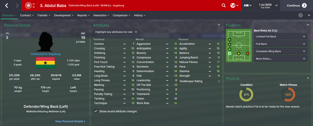 Abdul Baba, FM15, FM 2015, Football Manager 2015, 1st Season Screenshot