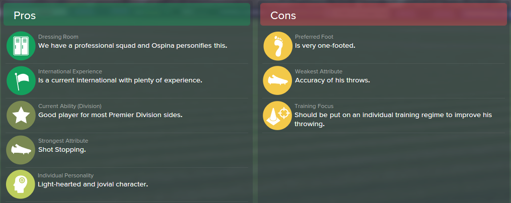 David Ospina,FM15, FM 2015, Football Manager 2015, Scout Report, Pros & Cons