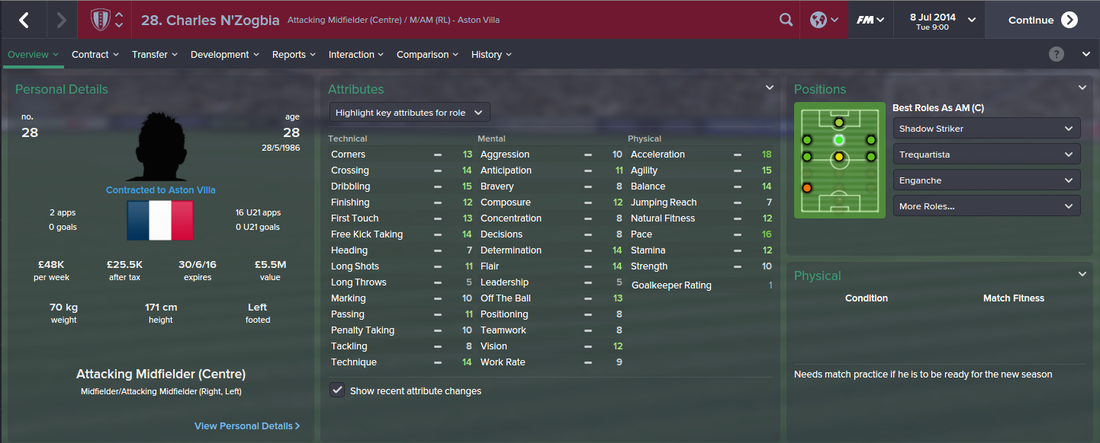 Charles N'Zogbia, FM15, FM 2015, Football Manager 2015, 1st Season Screenshot