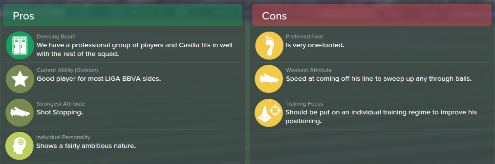 Kiko Casilla, FM15, FM 2015, Football Manager 2015, Scout Report, Pros & Cons