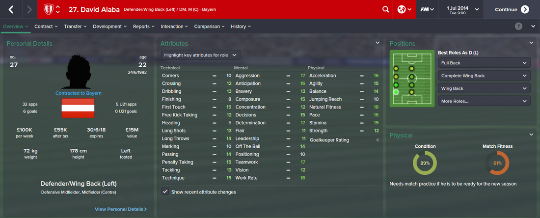 David Alaba, FM15, FM 2015, Football Manager 2015, 1st Season Screenshot