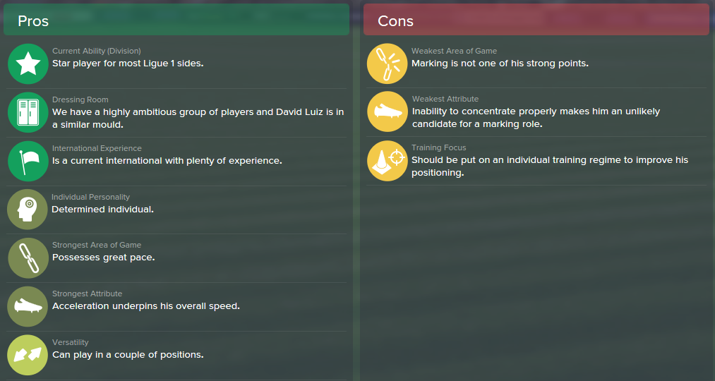 David Luiz, FM15, FM 2015, Football Manager 2015, Scout Report, Pros & Cons
