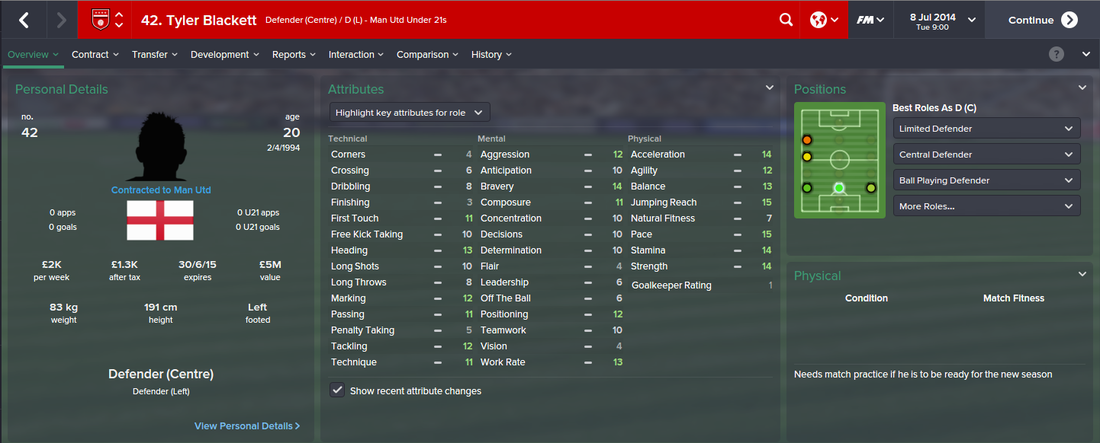 Tyler Blackett, FM15, FM 2015, Football Manager 2015, 1st Season Screenshot