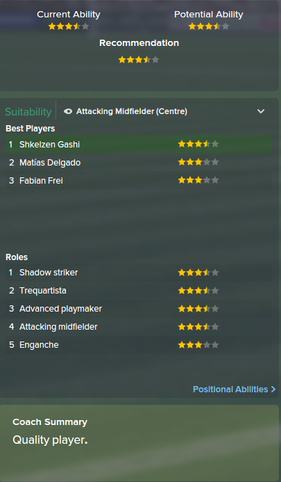 Shkelzen Gashi, FM15, FM 2015, Football Manager 2015, Scout Report, Current & Potential Ability
