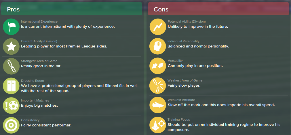 Islam Slimani, FM15, FM 2015, Football Manager 2015, Scout Report, Pros & Cons