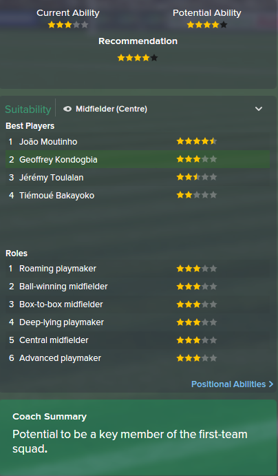 Geoffrey Kondogbia, FM15, FM 2015, Football Manager 2015, Scout Report, Current & Potential Ability