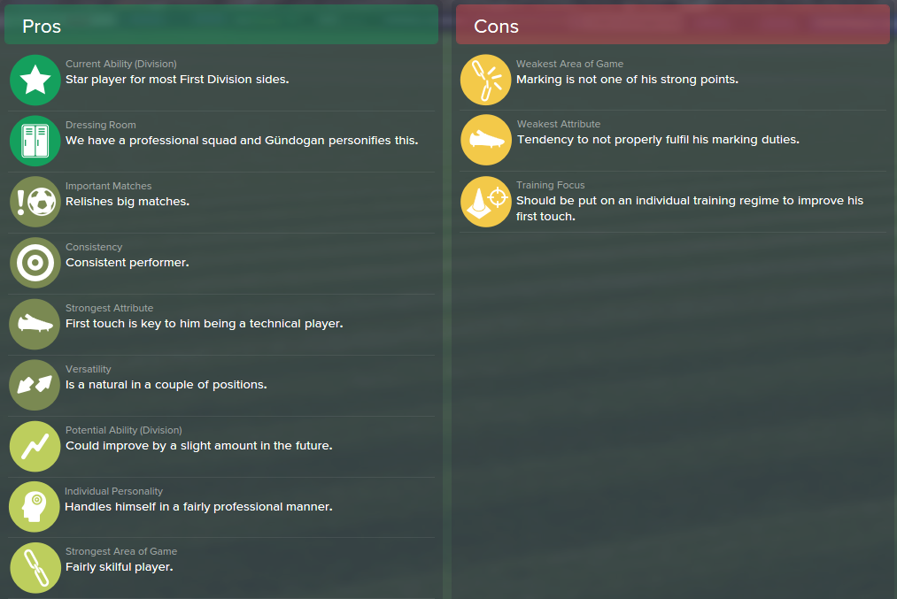 Ilkay Gundogan, FM15, FM 2015, Football Manager 2015, Scout Report, Pros & Cons