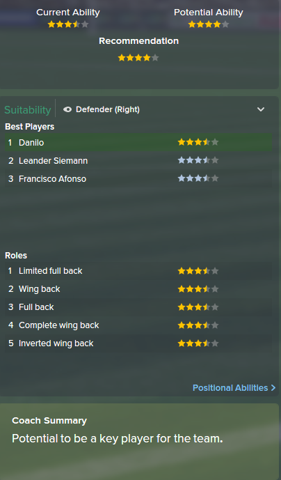 Danilo, FM15, FM 2015, Football Manager 2015, Scout Report, Current & Potential Ability