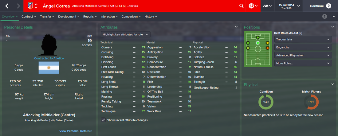 Angel Correa, FM15, FM 2015, Football Manager 2015, 1st Season Screenshot
