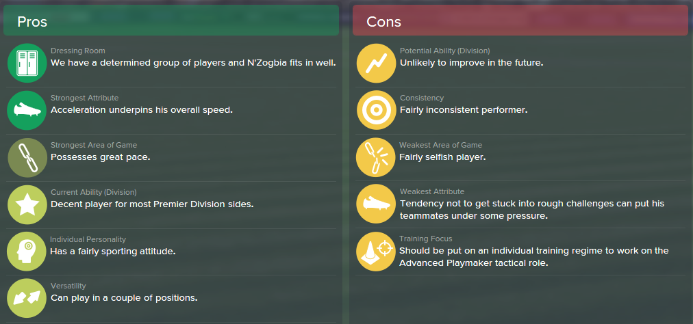 Charles N'Zogbia, FM15, FM 2015, Football Manager 2015, Scout Report, Pros & Cons