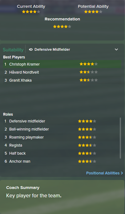 Christoph Kramer, FM15, FM 2015, Football Manager 2015, Scout Report, Current & Potential Ability