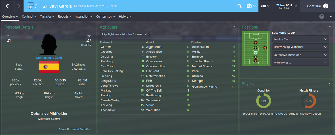 Javi Garcia, Football Manager 2015, FM15, FM 2015, 1st Season Screenshot