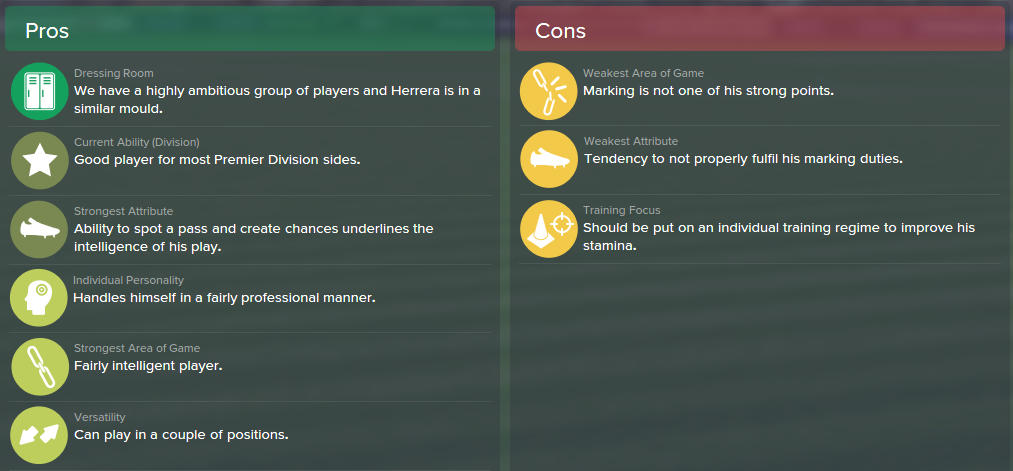 Ander Herrera, FM15, FM 2015, Football Manager 2015, Scout Report, Pros & Cons