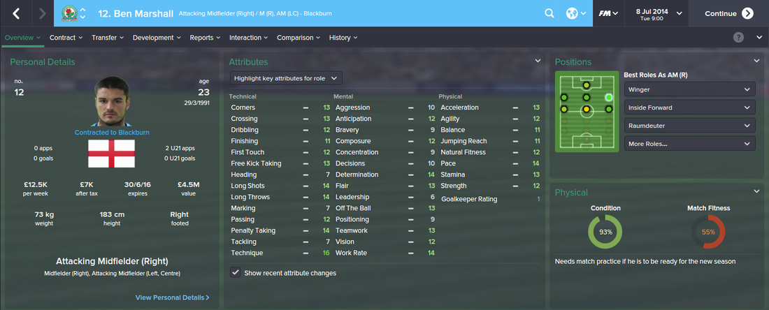 Ben Marshall, FM15, FM 2015, Football Manager 2015, 1st Season Screenshot