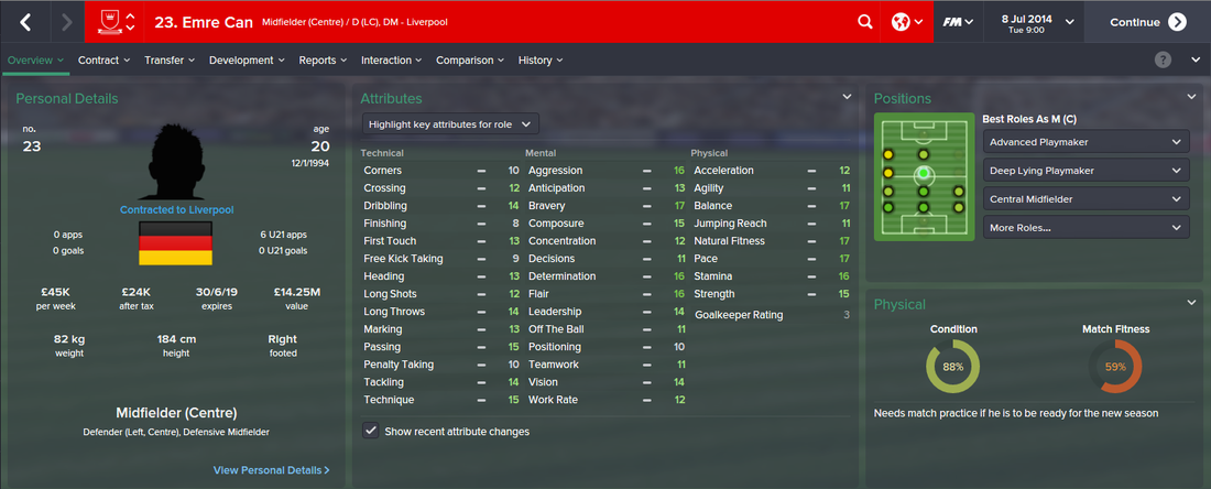 Emre Can, FM15, FM 2015, Football Manager 2015, 1st Season Screenshot