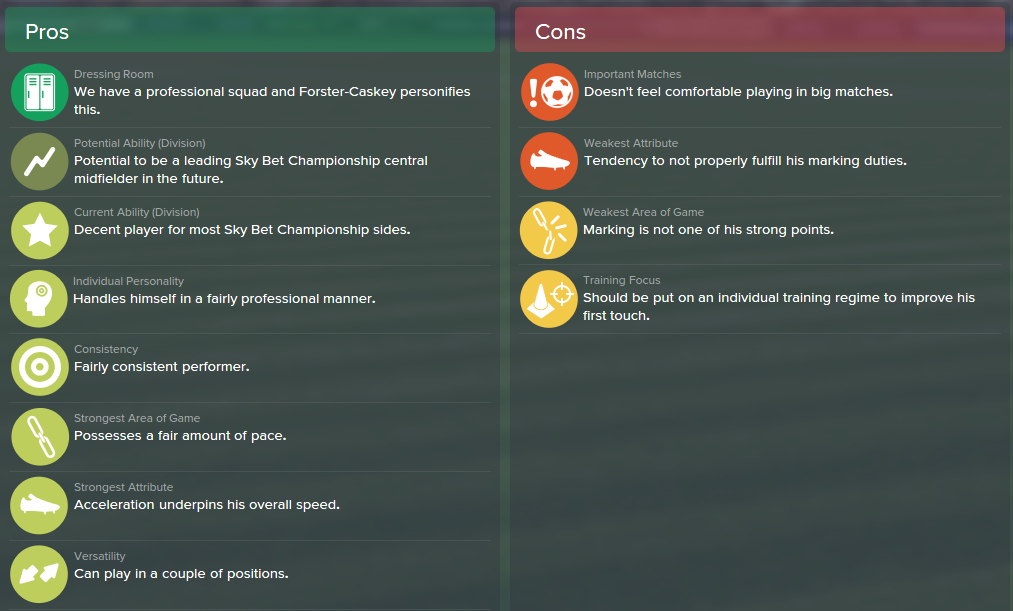Jake Forster-Caskey, FM15, FM 2015, Football Manager 2015, Scout Report, Pros & Cons