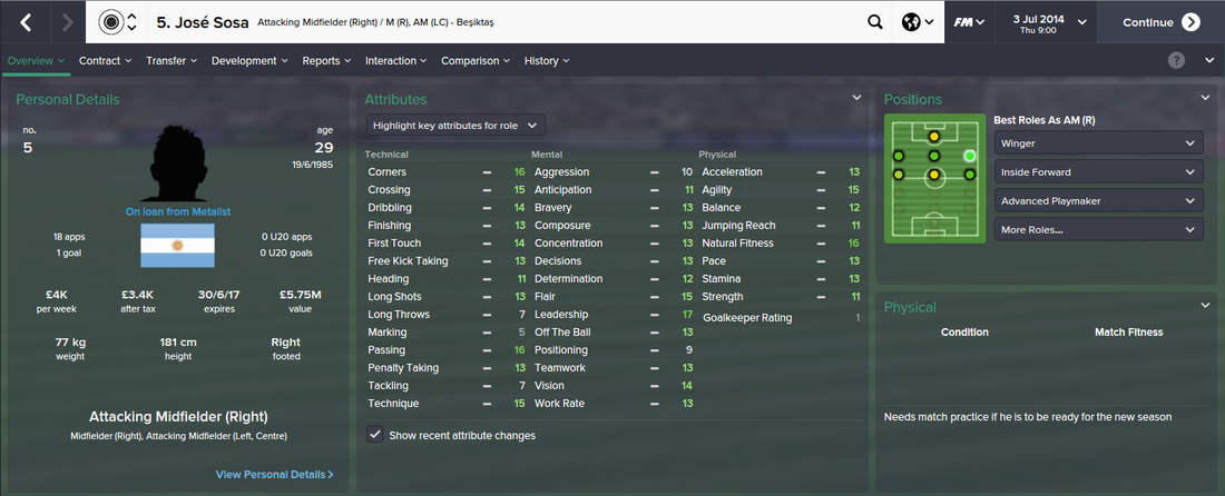 Jose Sosa, FM15, FM 2015, Football Manager 2015, 1st Season Screenshot