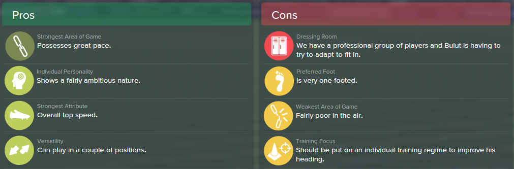 Kerem Bulut, FM15, FM 2015, Football Manager 2015, Scout Report, Pros & Cons