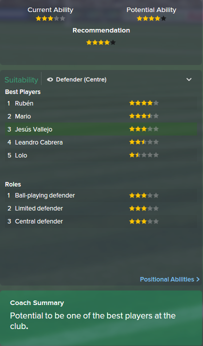 Jesus Vallejo, FM15, FM 2015, Football Manager 2015, Scout Report, Current & Potential Ability