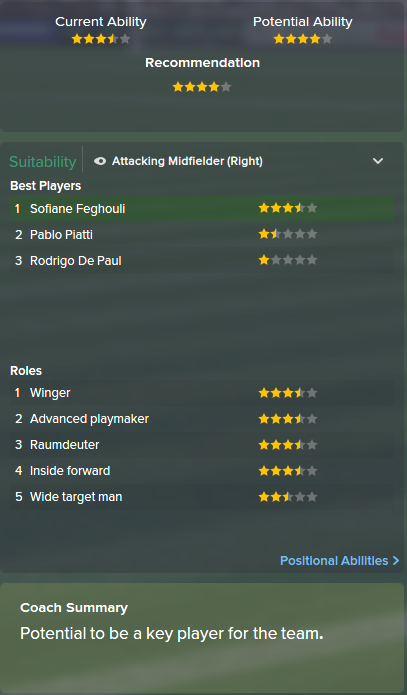 Sofiane Feghouli, FM15, FM 2015, Football Manager 2015, Scout Report, Current & Potential Ability