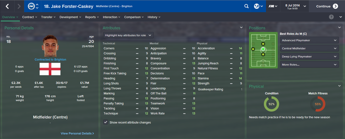 Jake Forster-Caskey, FM15, FM 2015, Football Manager 2015, 1st Season Screenshot