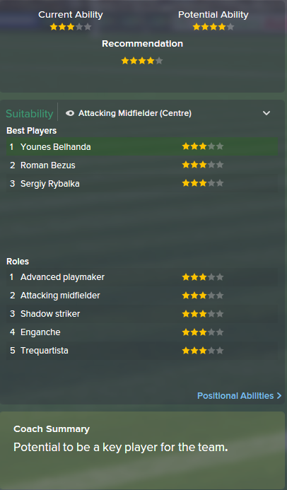 Younes Belhanda, FM15, FM 2015, Football Manager 2015, Scout Report, Current & Potential Ability
