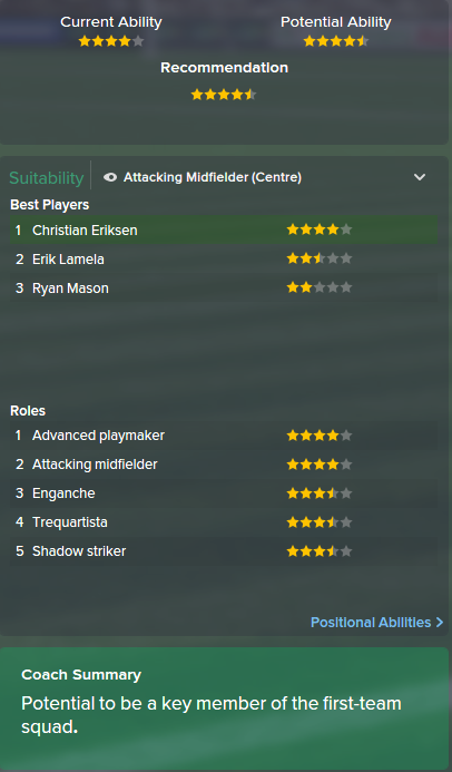 Christian Eriksen, FM15, FM 2015, Football Manager 2015, Scout Report, Current & Potential Ability
