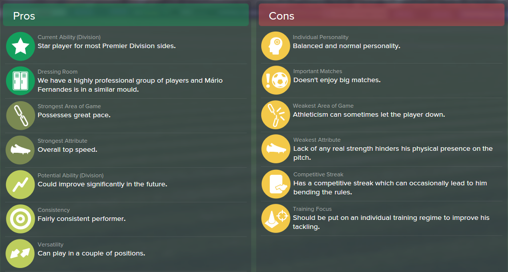 Mario Fernandes, FM15, FM 2015, Football Manager 2015, Scout Report, Pros & Cons