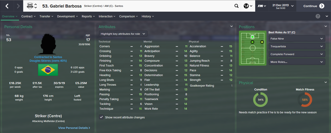 Gabriel Barbosa, FM15, FM 2015, Football Manager 2015, 1st Season Screenshot
