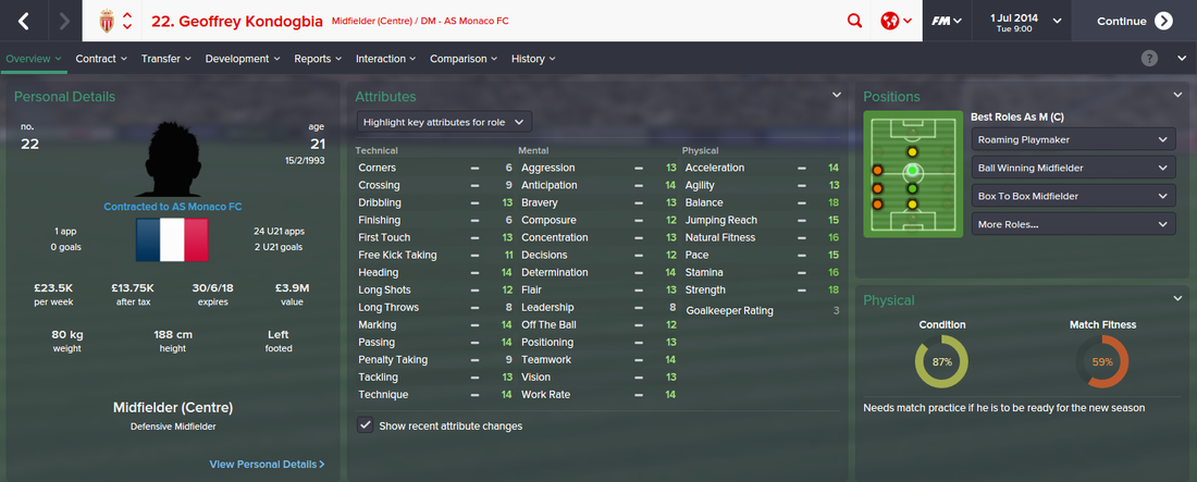 Geoffrey Kondogbia, FM15, FM 2015, Football Manager 2015, 1st Season Screenshot