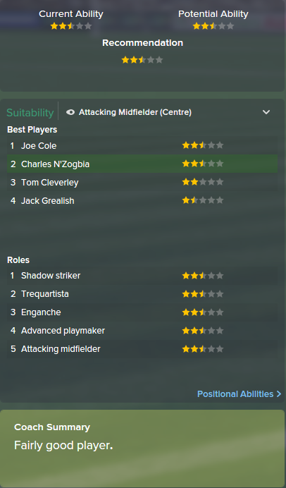 Charles N'Zogbia, FM15, FM 2015, Football Manager 2015, Scout Report, Current & Potential Ability