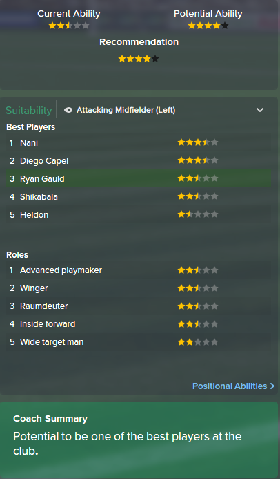 Ryan Gauld, FM15, FM 2015, Football Manager 2015, Scout Report, Current & Potential Ability