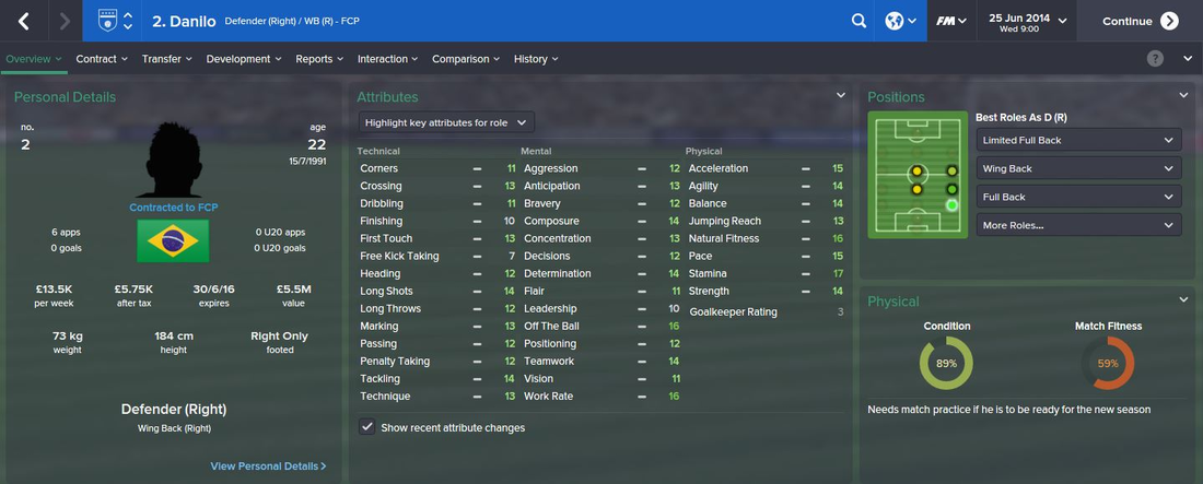 Danilo, FM15, FM 2015, Football Manager 2015, 1st Season Screenshot