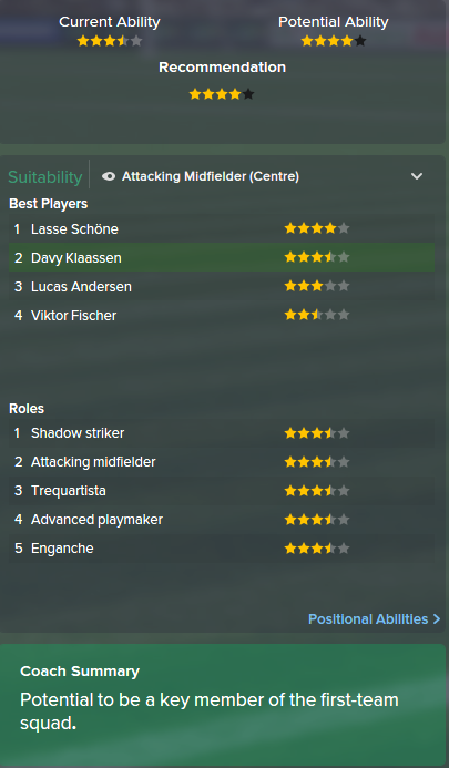 Davy Klaassen, FM15, FM 2015, Football Manager 2015, Scout Report, Current & Potential Ability
