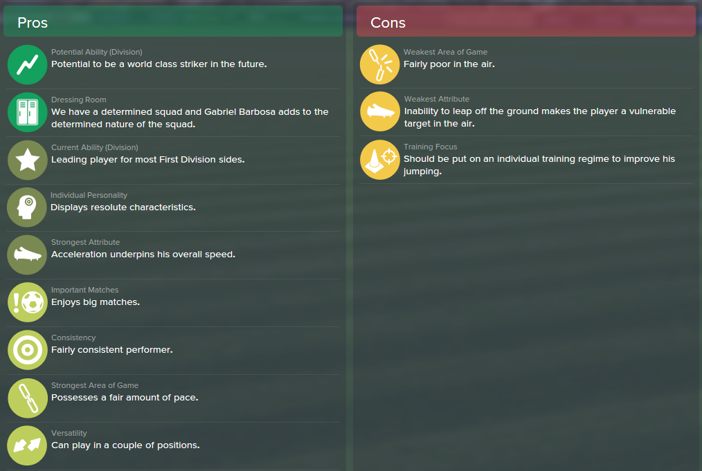 Gabriel Barbosa, FM15, FM 2015, Football Manager 2015, Scout Report, Pros & Cons