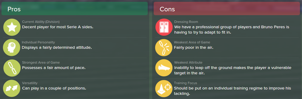 Bruno Peres, FM15, FM 2015, Football Manager 2015, Scout Report, Pros & Cons