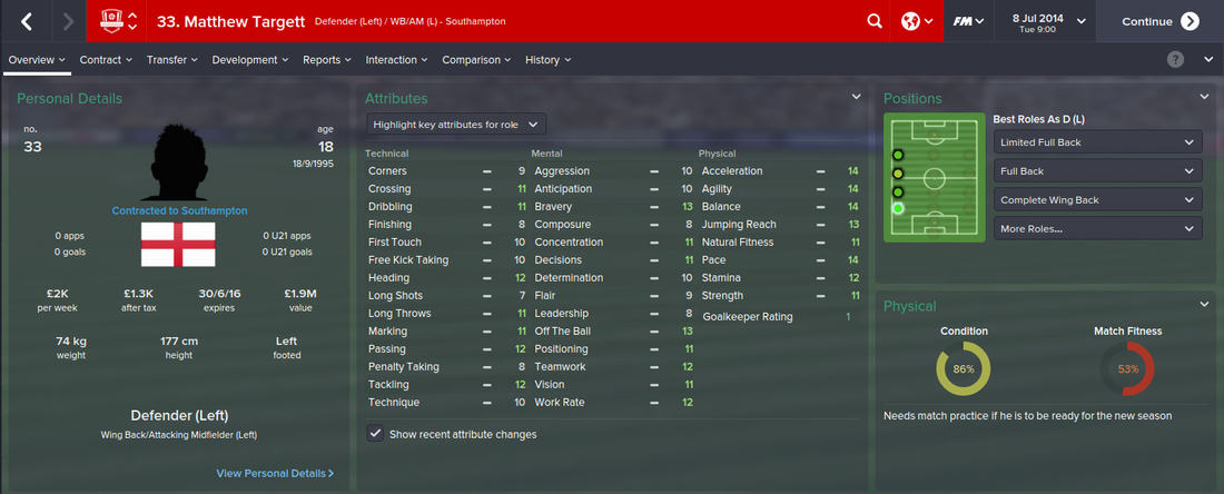 Matthew Targett, FM15, FM 2015, Football Manager 2015, 1st Season Screenshot